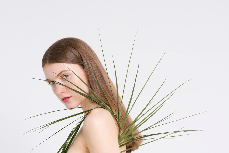 model wearing organic beauty