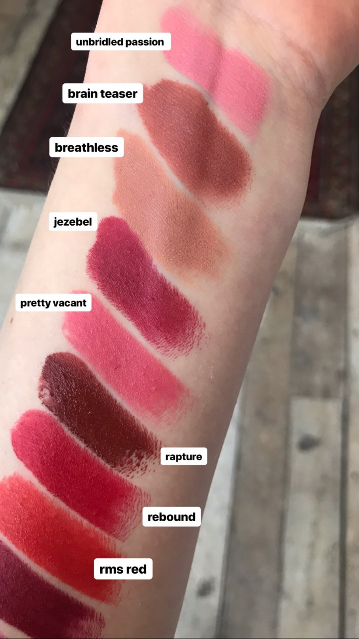 colour swatches of rms lipstick