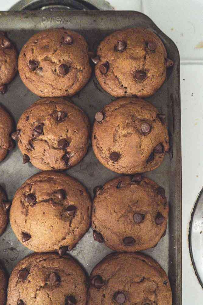 A top view of Vegan Pumpkin Muffins with Chocolate Chips in a muffin mold