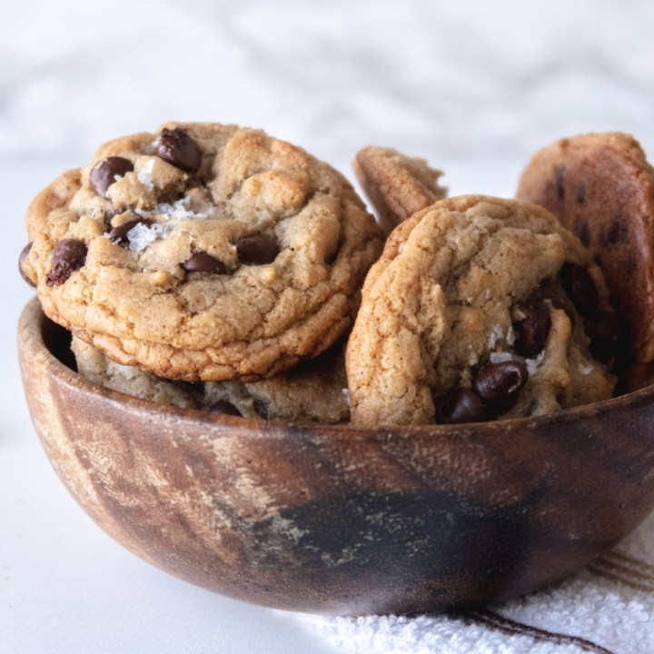 cannabis cookies in a wood bowl