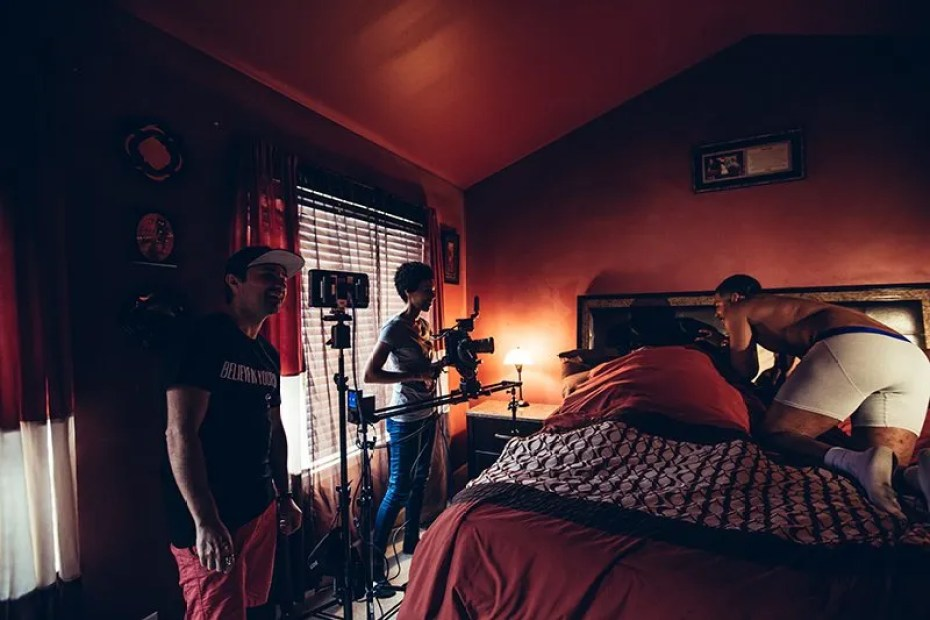 rehearsing a scene from a music video in the master bedroom