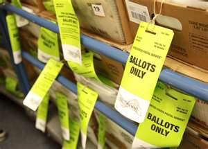 Paper ballots in boxes