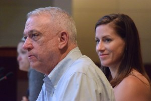 Miller & Smith Vice President Bill May listens to Visit Loudoun President and CEO Beth Erickson during the Planning Commission's June 28 worksession. (Renss Greene/Loudoun Now)