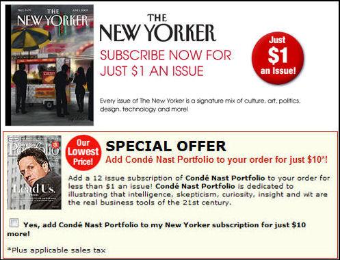 The New Yorker and Condé Nast's Portfolio sub offer
