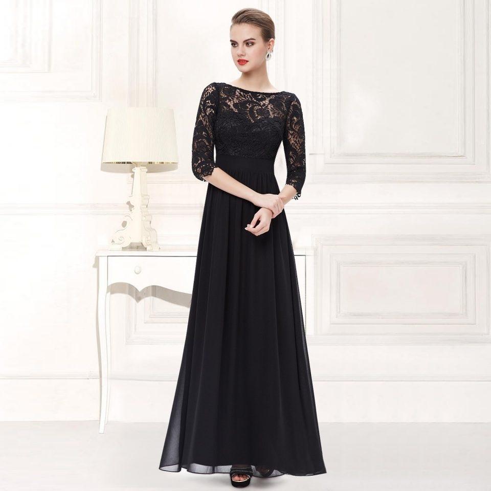 Abendkleider lang schwarz 48