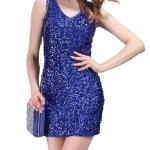 Formal Einfach Kleid Blau Glitzer ÄrmelDesigner Einfach Kleid Blau Glitzer Spezialgebiet