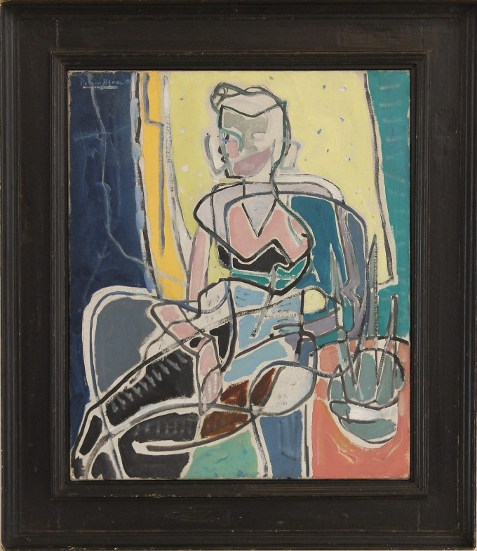 Patrick Heron portrait painting of a woman with jonquils. The painting is red, blue and yellow and framed in a black frame.