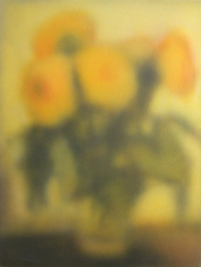 A painting of sunflowers by Sherry Kerlin.