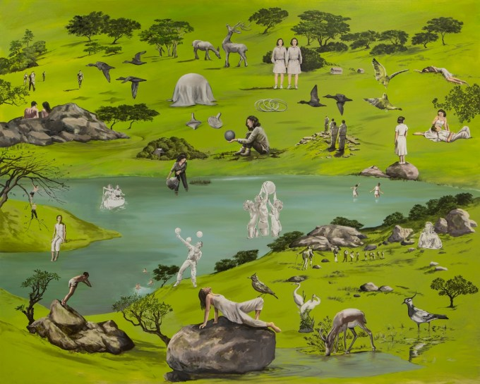 A painting of people doing different things by Masha Tehrani an Iranian female artist.