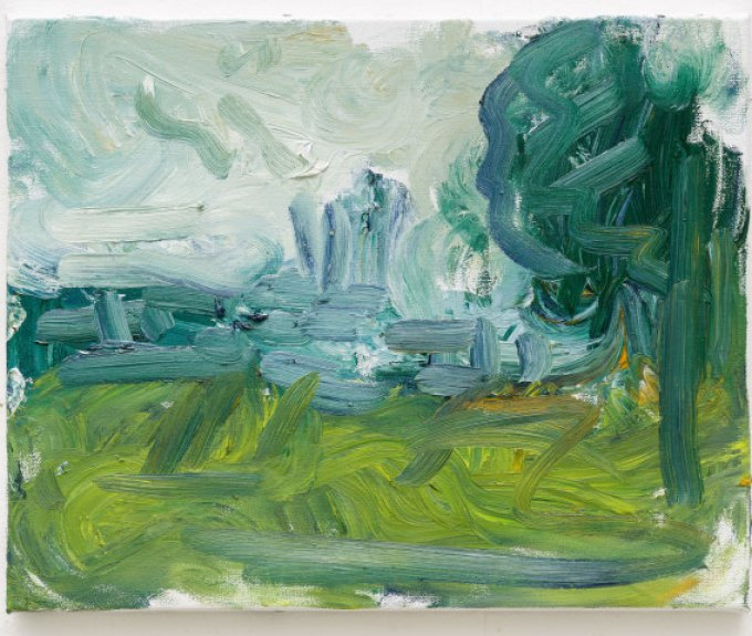 A beautiful green and blue landscape painting by Richard Cook.