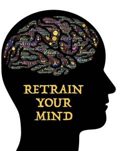 Silhouette of a human head in profile with a word-cloud inside the brain.