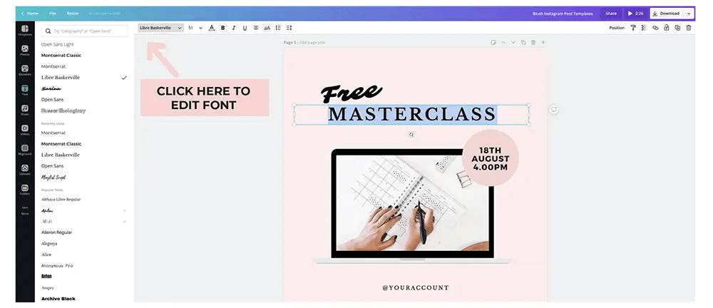 edit fonts in canva
