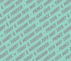 Mint coloured giftwrap with the words - Today & Forever - Harry & Meghan 19th May 2018. Giftwrap for the Royal Wedding