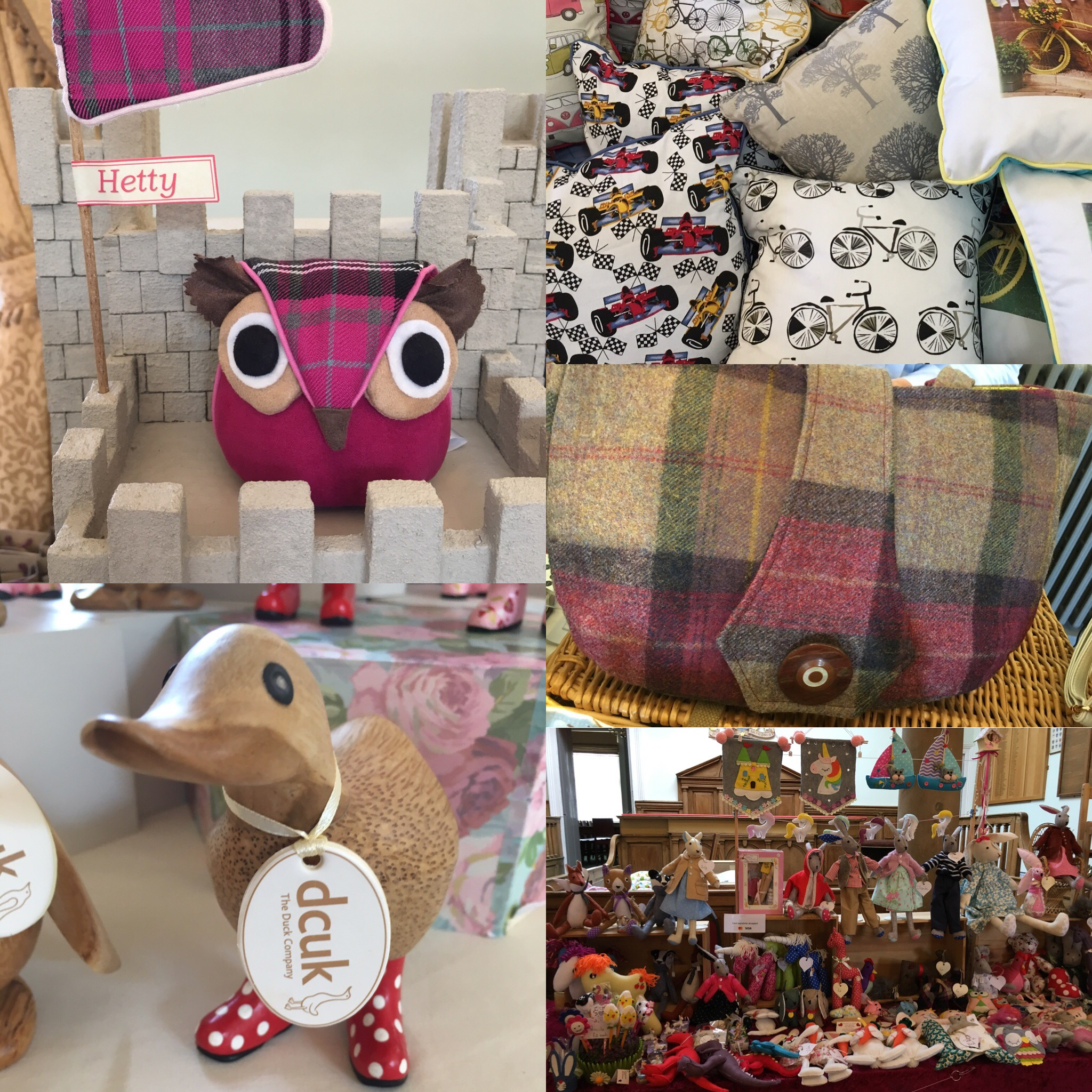 A pink fabric owl doorstop, a selection of cushions, a DCUK duck, a tweed handbag and handmade toys & gifts