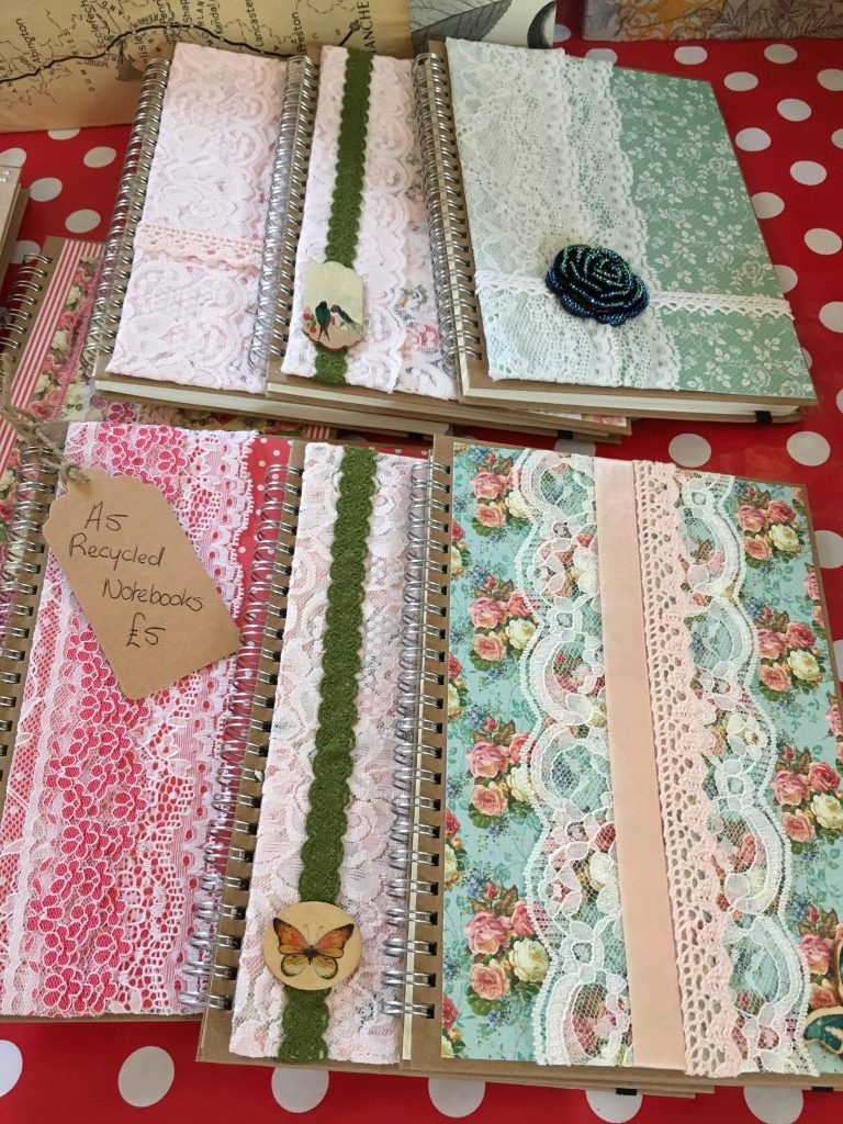 A5 notebooks covered with pretty fabrics