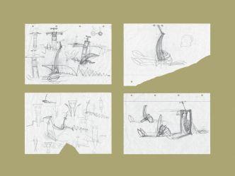 4 Entwurfszeichnungen zur Plastik Pitú | 1996,Bleistift auf Papier | je 29,5 x 21 cm