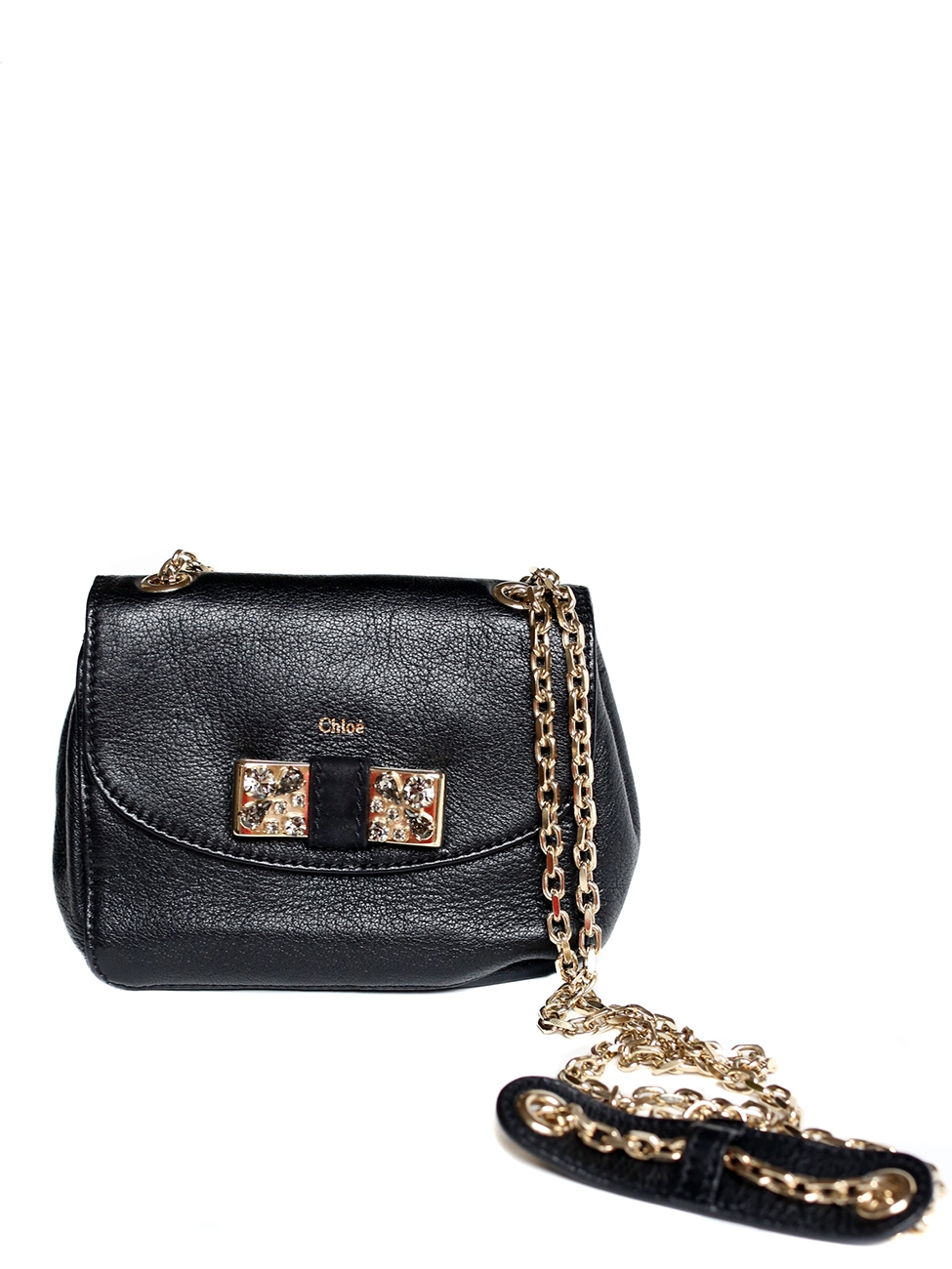 Black leather Lily mini cross body bag with a swarovski crystals embellished bow Retail price 550€