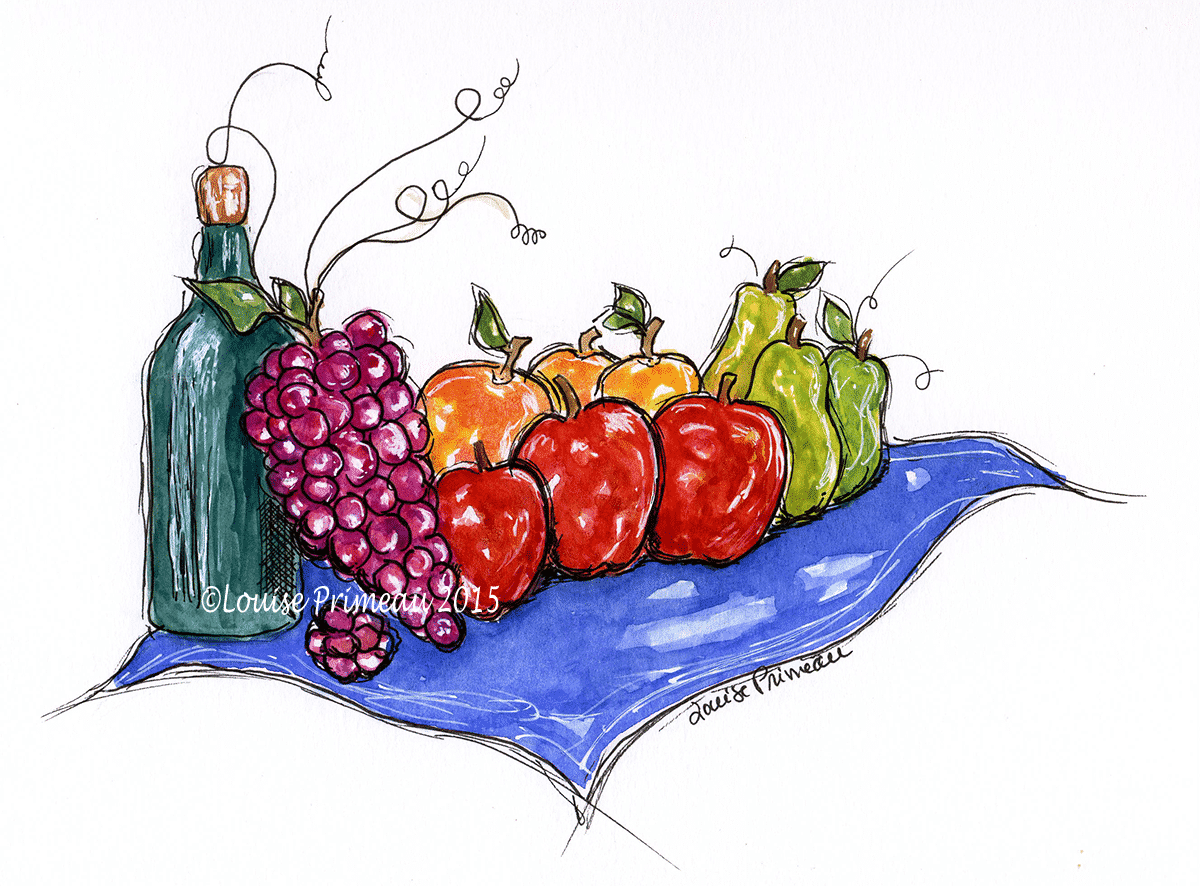 watercolour and ink fruit and wine - ready for a picnic