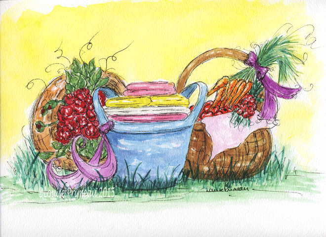 watercolour and ink sketch of laundry baskets