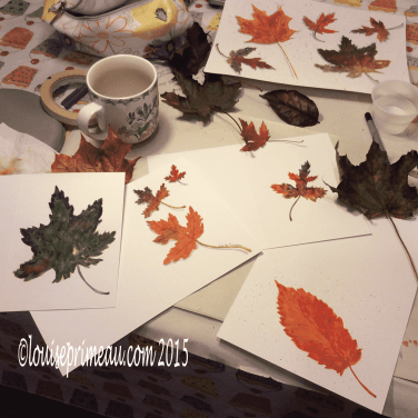 inspired to make cards with fall treasures