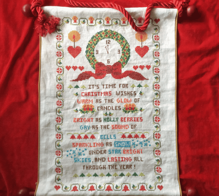 embroidered Christmas banner