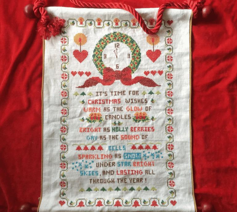 embroidered Christmas banner