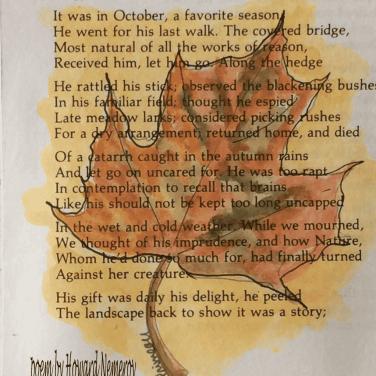 painted leaf on poem