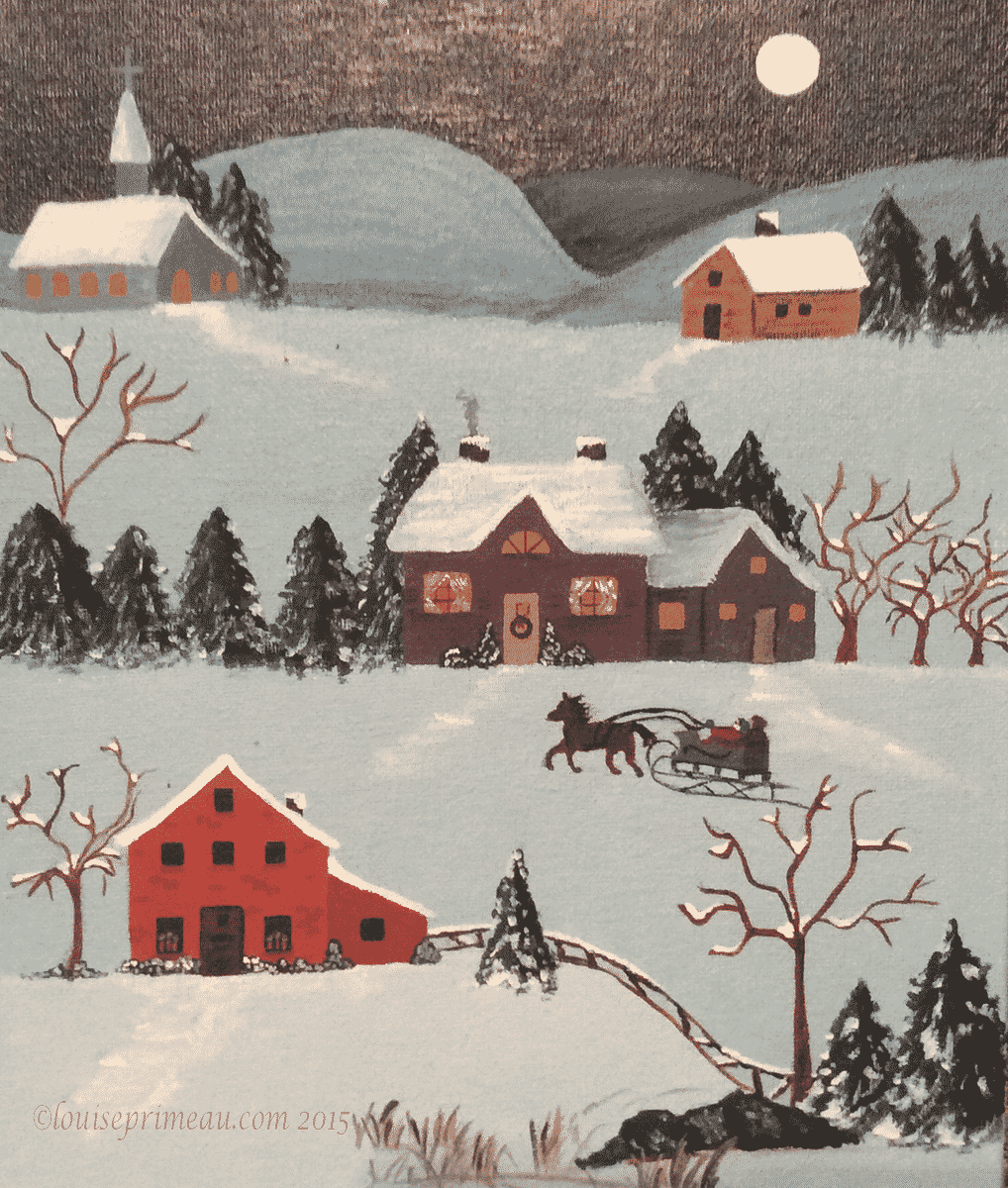 Folk art painting - An After-Christmas Visit
