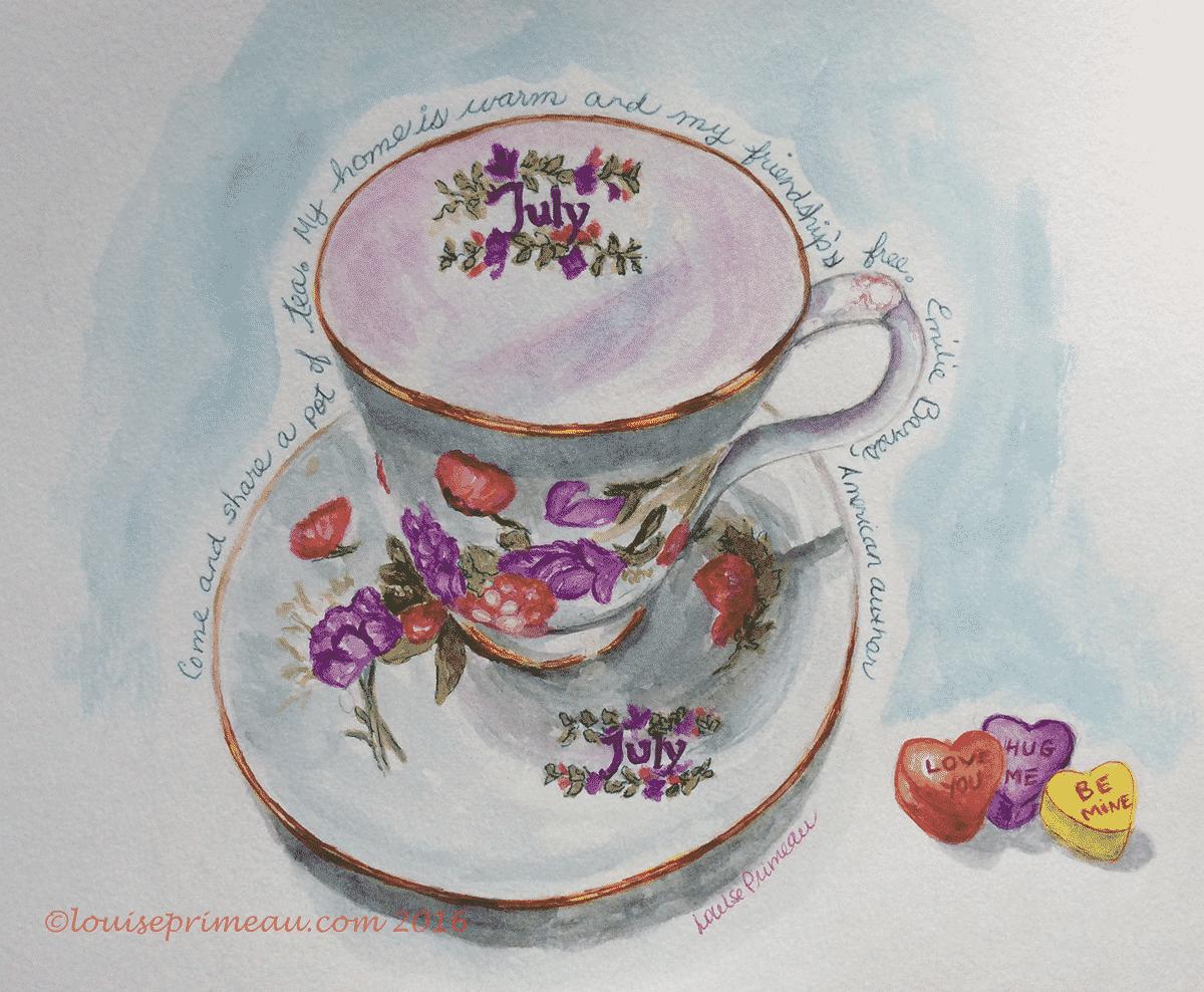 watercolour tea cup