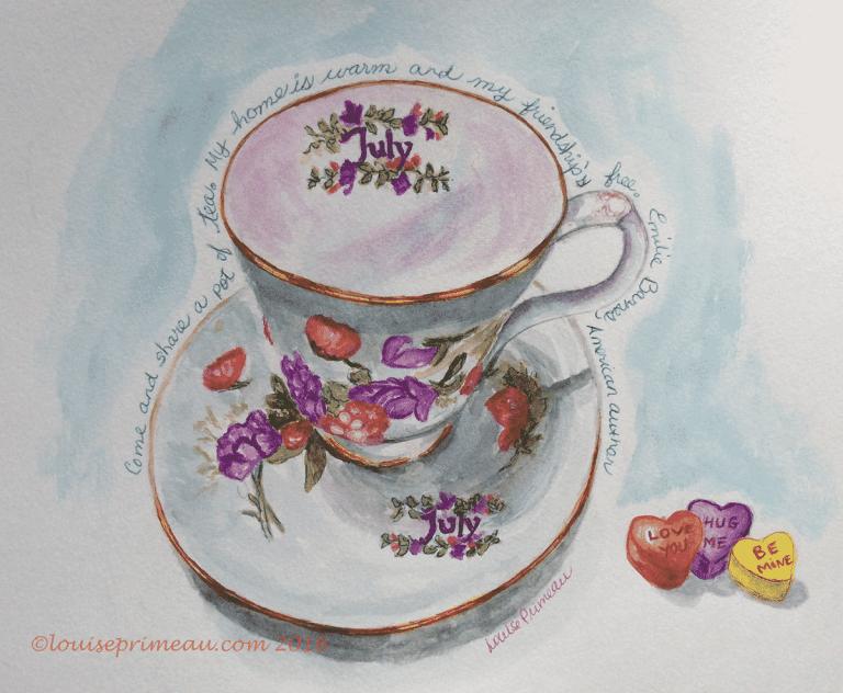 watercolour July teacup
