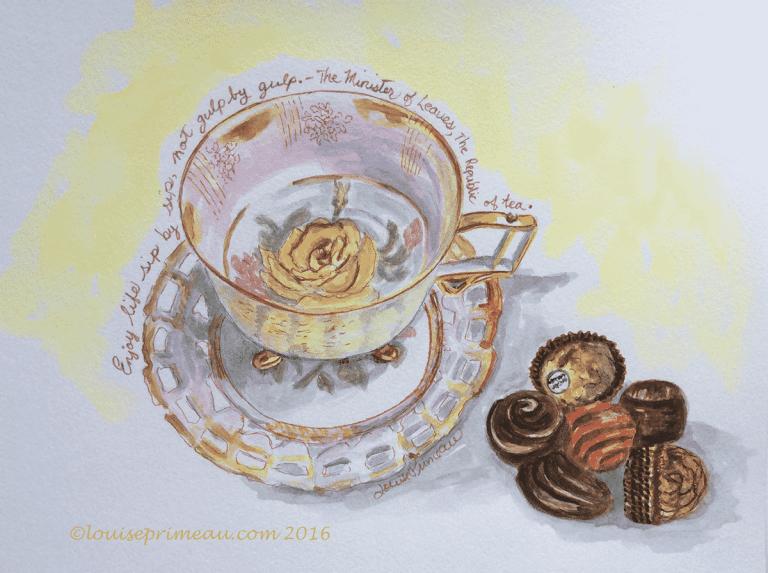 watercolour yellow rose teacup