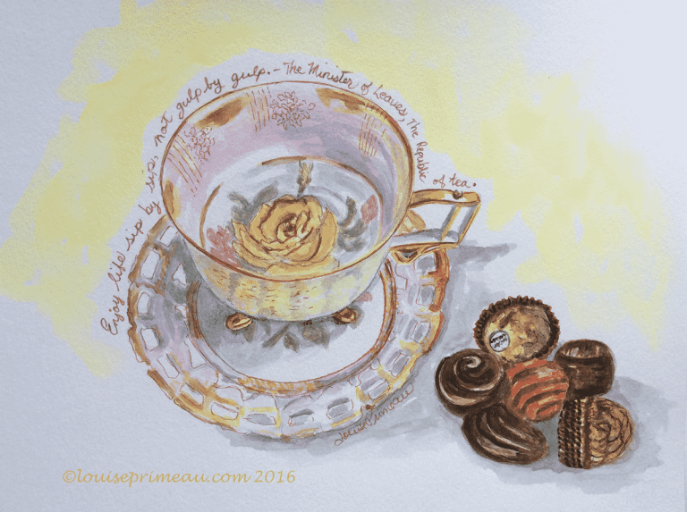 watercolour yellow rose teacup