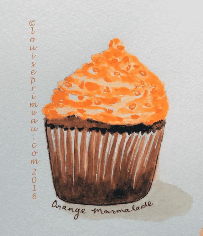 Orange marmalde cupcake in watercolour