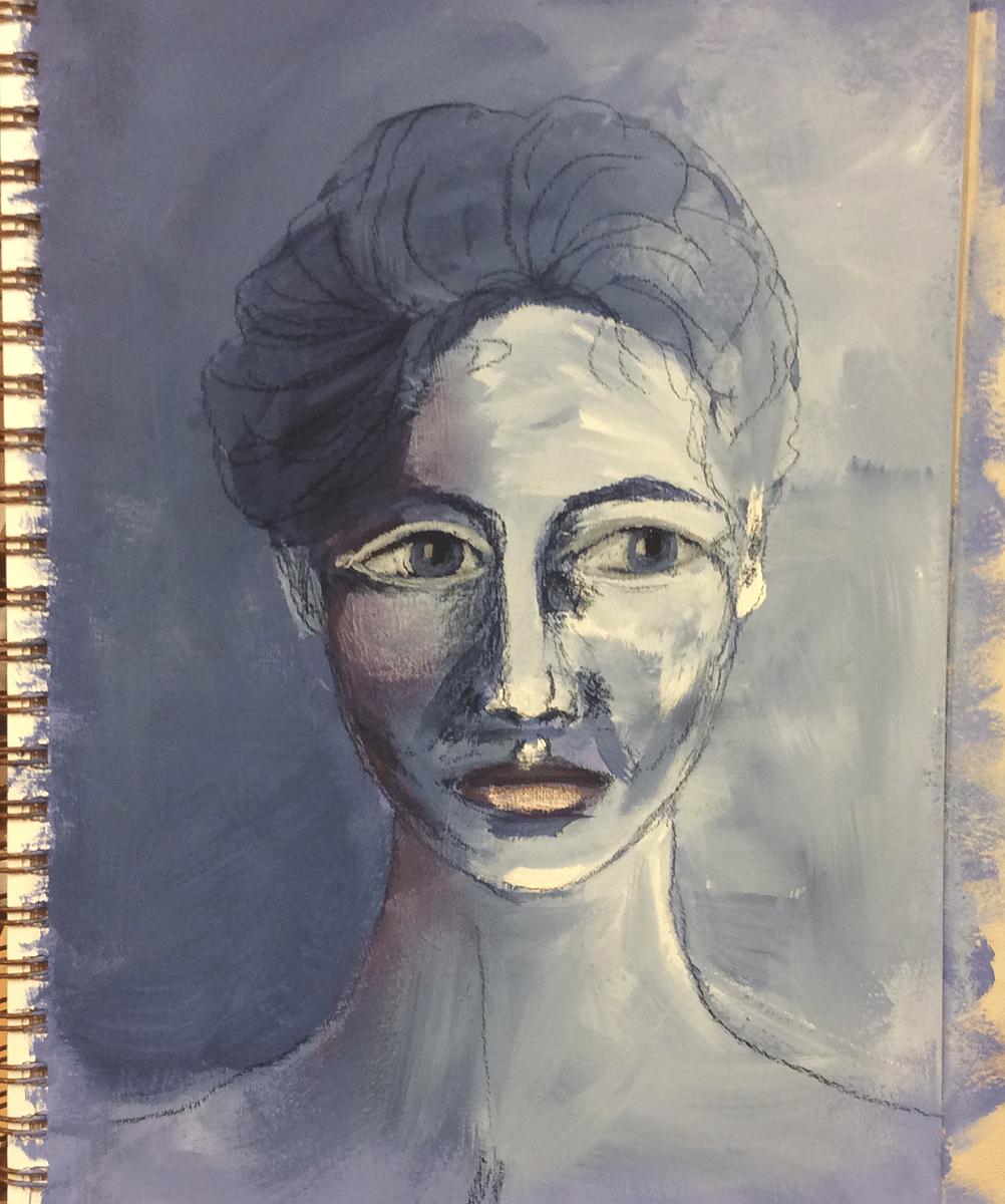 She surfaces - mixed media process
