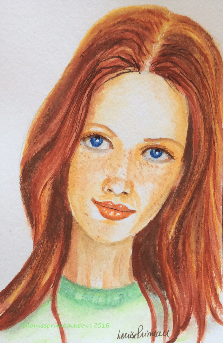 redhaired girl in watercolour