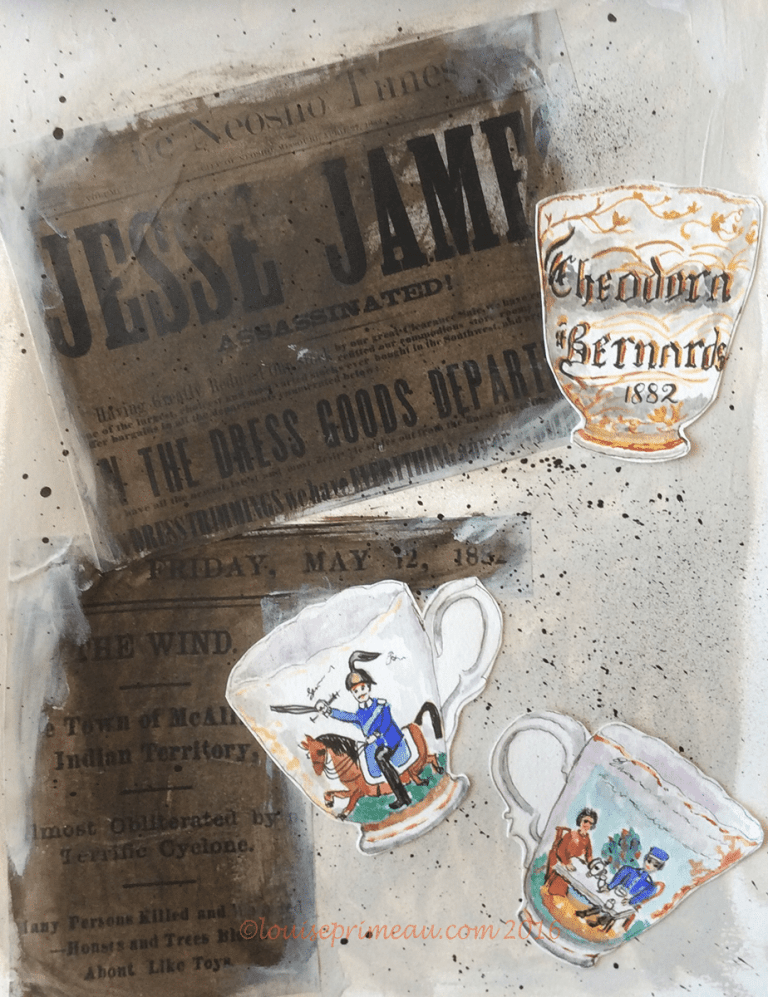 collage and watercolour vintage baby cup 1882