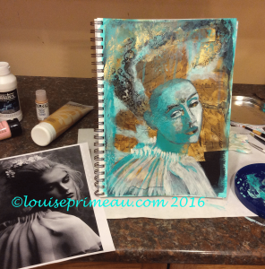 underpainting of mixed media princess - the ugly stage