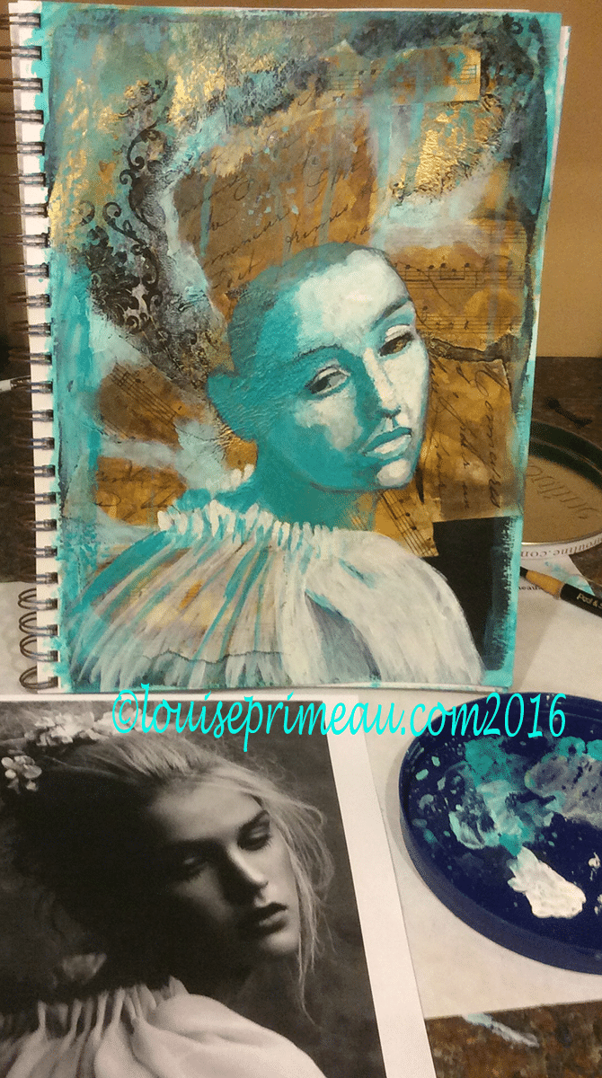 mixed media princess underpainting