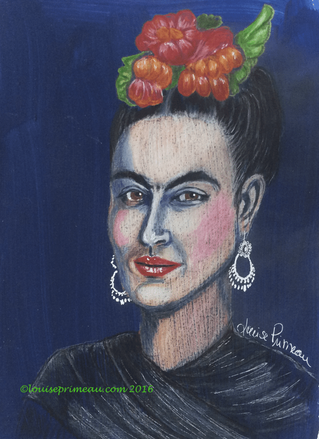 Frida Kahlo in coloured pencil on acrylic background
