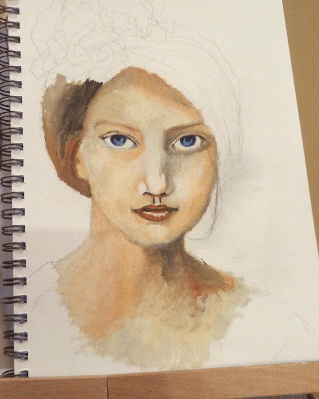 adding details to acrylic portrait