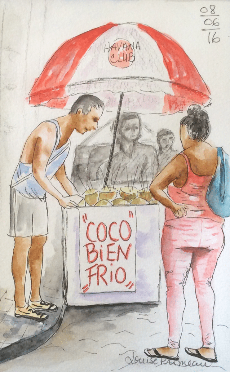 coco bien frio sketch in old Havana