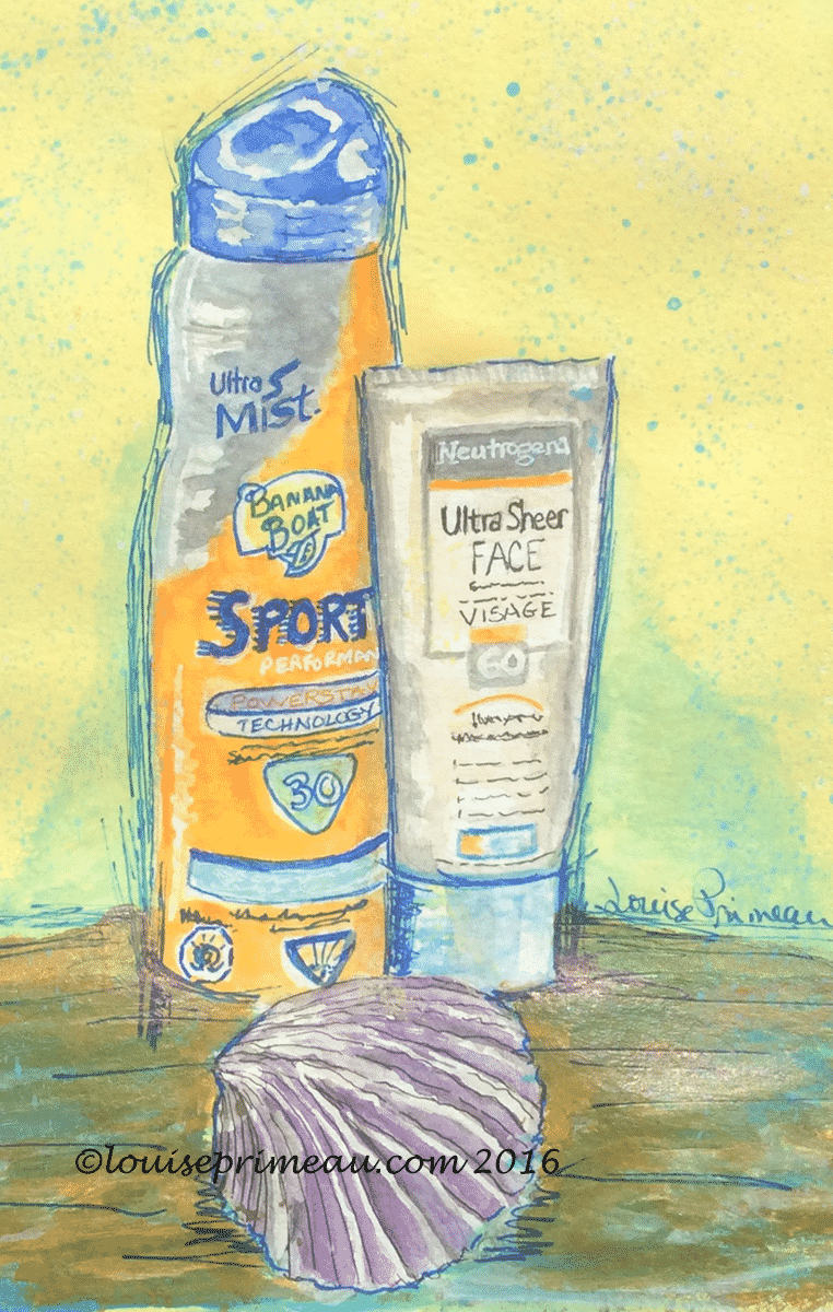mixed media sketch of sunscreen
