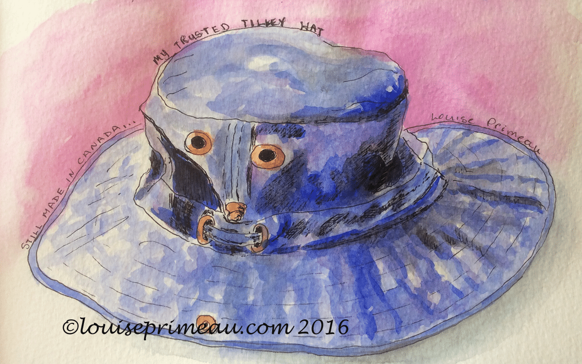 sun hat in watercolour journal - watercolour and ink