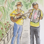 journal sketch of musicians in Havana