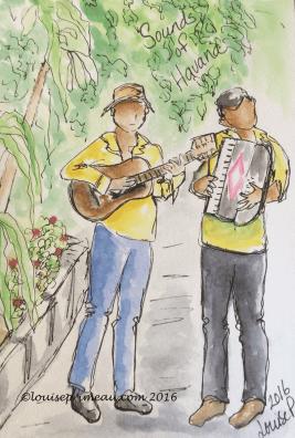 journal sketch of musicians in Havana