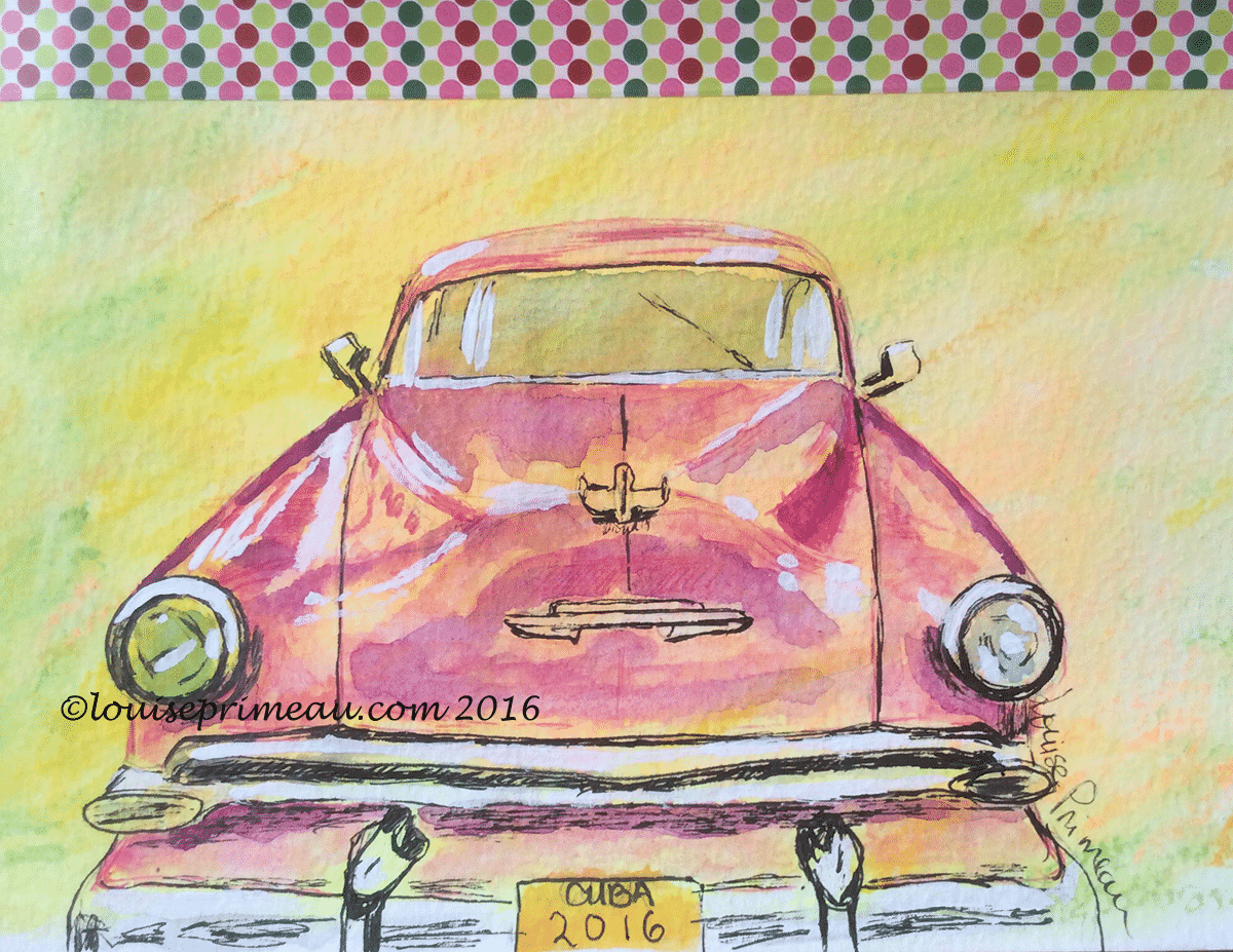 sketch of old Cuban car