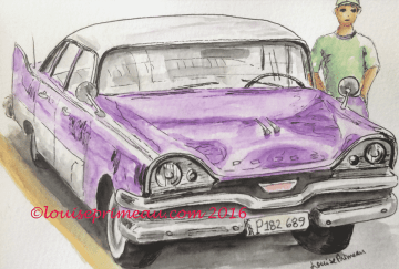 vintage car in watercolour