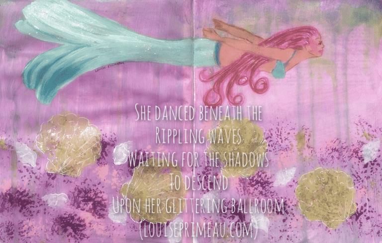 painted mermaid in journal