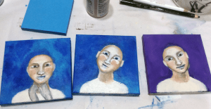 Three left in the series of acrylic portraits