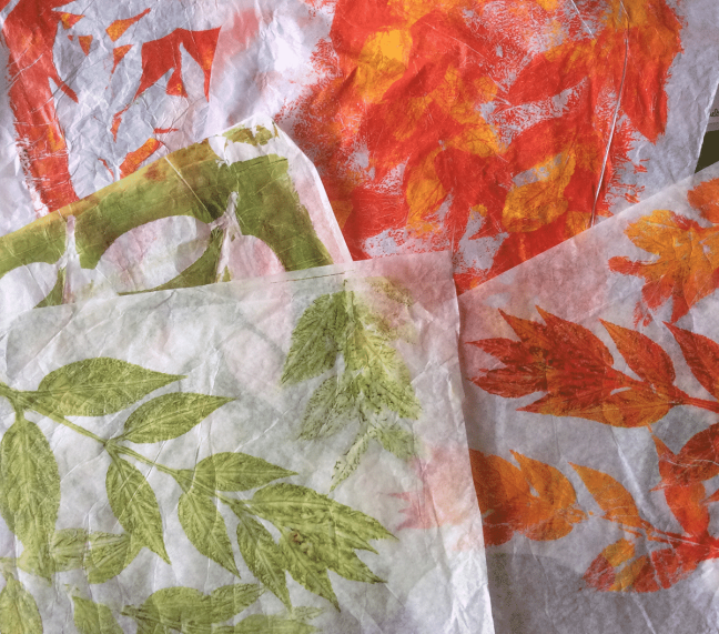 gelli printed leaves to use as background